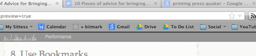 In the very center of my bookmarks toolbar?  'To do list', 'gmail', and 'calendar'.  When in doubt, I always return to these.