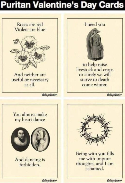 Quaker/Puritan Valentine's Day Cards